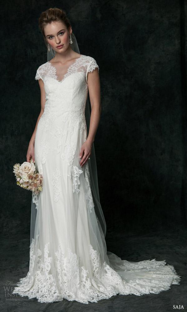 Saja Bridal 2016 Cap Sleeve Lace Embellished Tulle Wedding Dress Style Ha6024