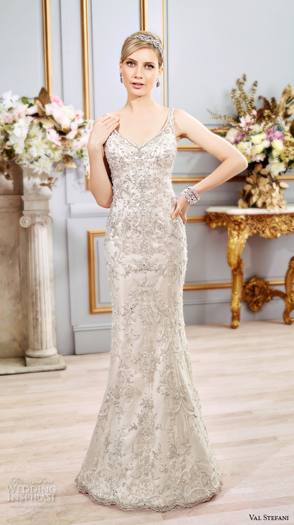 Val Stefani Spring 2016 Wedding Dresses Fit Flare Beautiful Sheath Gown V Neckline Sleeveless With Strap