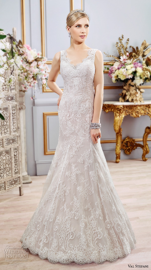 Val Stefani Spring 2016 Wedding Dresses Fit Flare Trumpet Beautiful Mermaid Gown Thick Lace Strap V