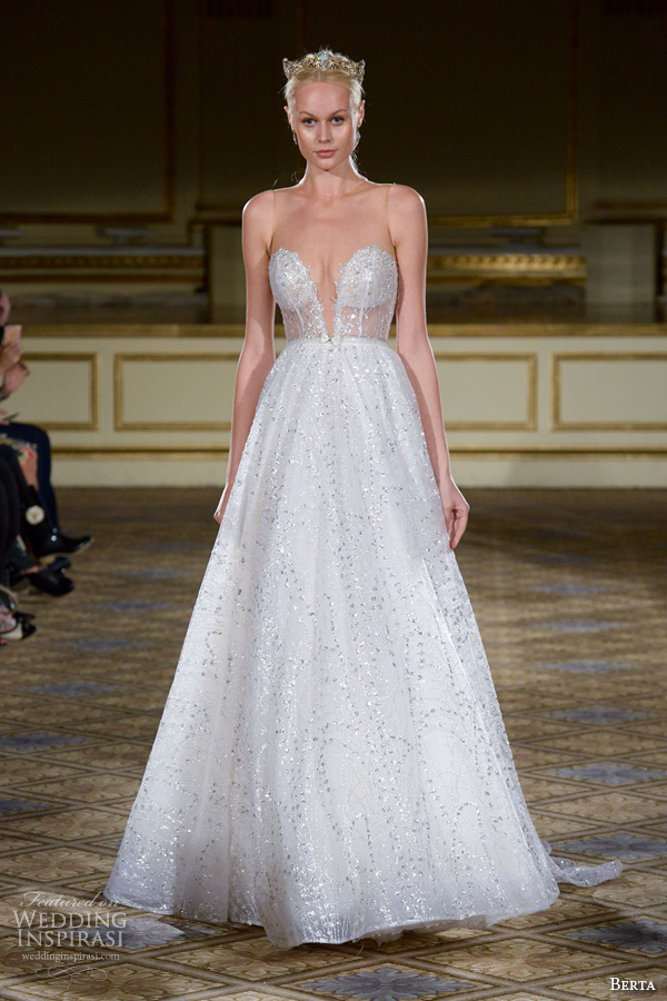 berta fall 2016 bridal gowns a line wedding dress bustier bodice deep v neckline glitter embellishment