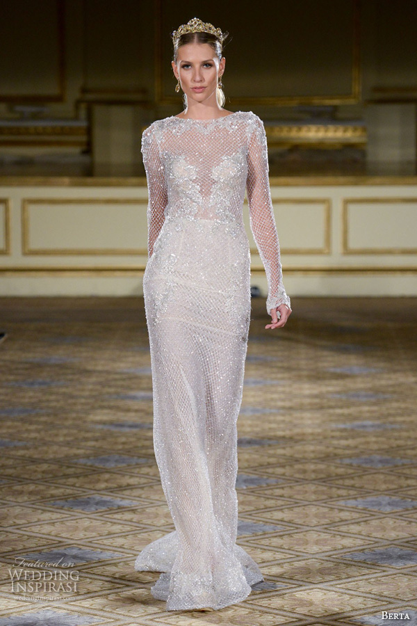 Berta fall 2016 wedding dresses new york bridal runway for Sparkly wedding dresses with sleeves