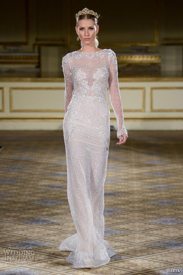 berta fall 2016 bridal gowns bateau neckline long netted sleeves sheath wedding dress glitter embellishment