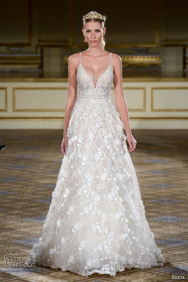 berta fall 2016 bridal gowns beautiful a  line wedding ball gown dress floral applique spagetti strap
