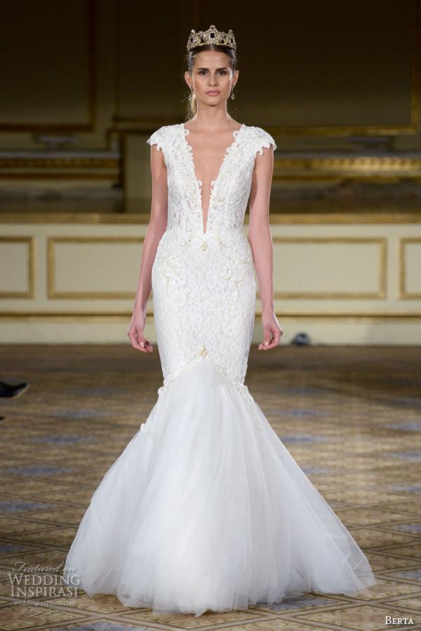 berta fall 2016 bridal gowns beautiful mermaid wedding dress cap sleeves deep plunging v neckline