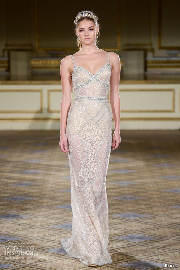 berta fall 2016 bridal gowns beautiful sheath wedding dress spagetti strap v neckline