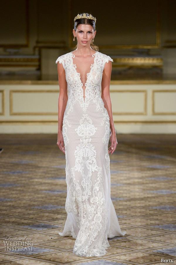 berta fall 2016 bridal gowns cap sleeves sheath wedding dress deep v neckline lace embroidery