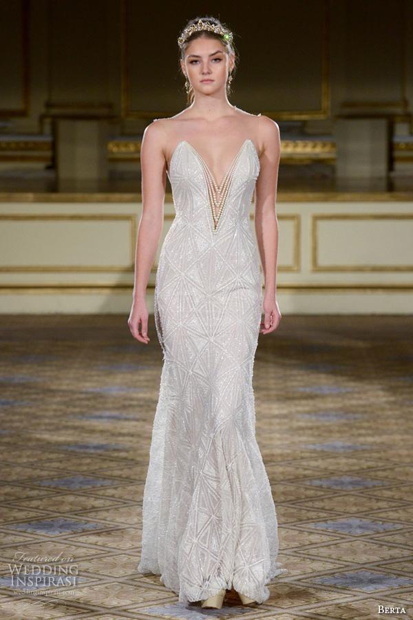 Sheath Wedding Gown Pattern : Gowns deep plunging v neckline sheath wedding dress art deco pattern