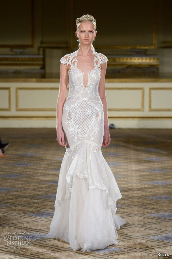 berta fall 2016 bridal gowns filigree cap sleeves queen anne neckline deep v neck mermaid wedding dress