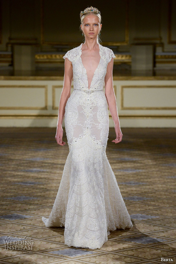 berta fall 2016 bridal gowns fit to flare mermaid wedding dress cap sleeves deep plunging v neckline