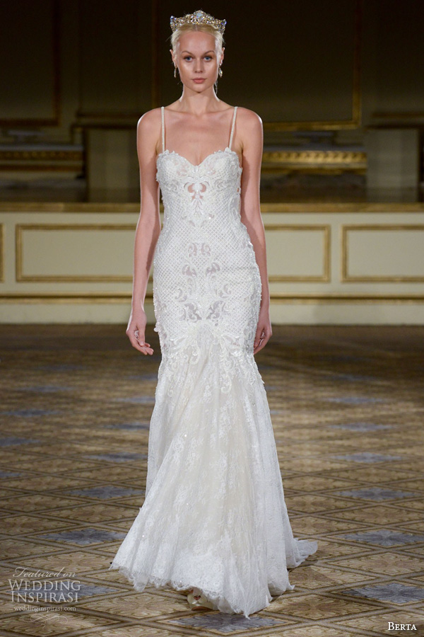 berta fall 2016 bridal gowns fit to flare wedding dress spagetti strap sweetheart neckline lace embroidery