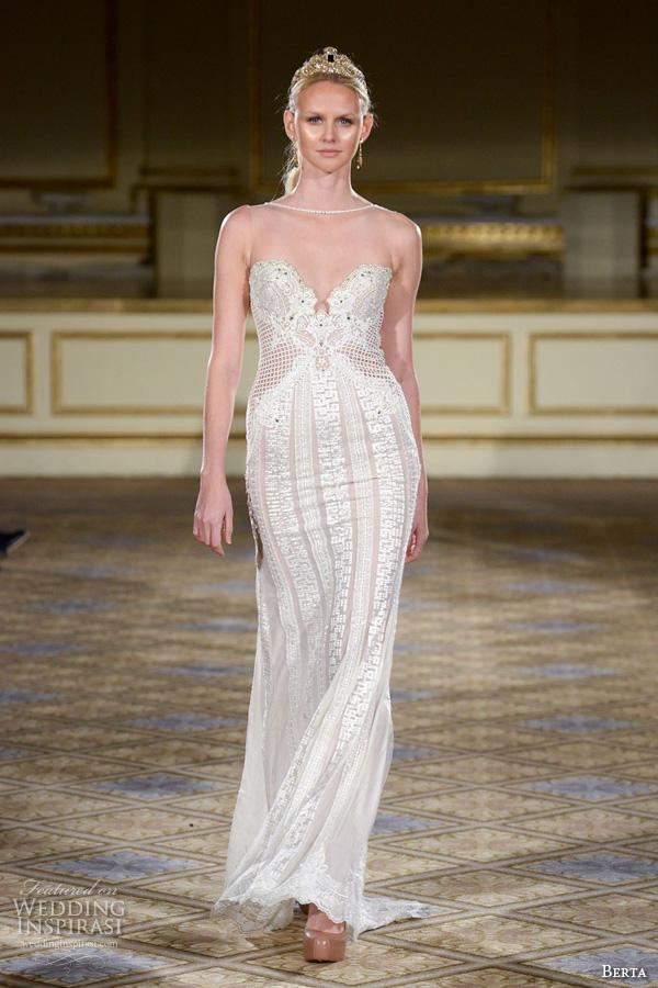 berta fall 2016 bridal gowns illusion bateau neckline sleeveless sheath wedding dress