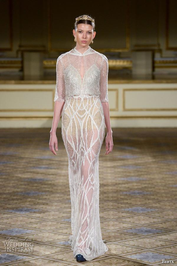 berta fall 2016 bridal gowns illusion high neckline and half sleeves crop top see through skirt sheath wedding dress