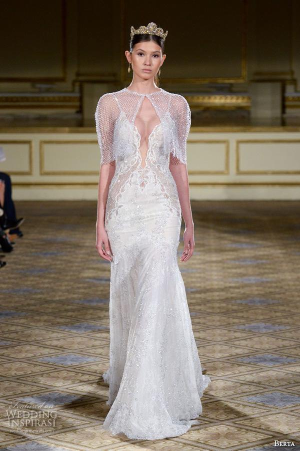 berta fall 2016 bridal gowns jewel neckline bolero jacket over spagetti strap deep v neckline sheath wedding dress
