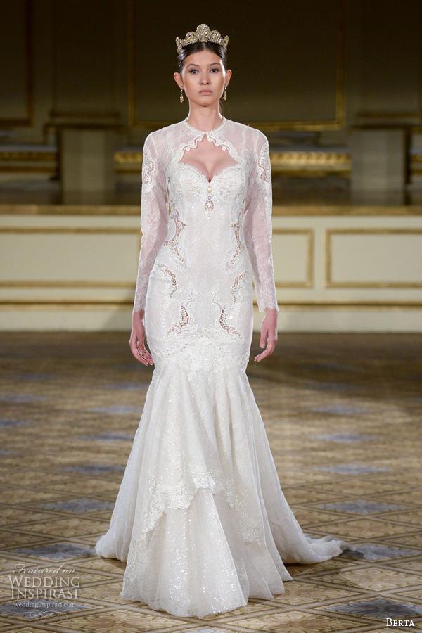 berta fall 2016 bridal gowns long sleeves jewel neckline keyhole sweetheart bodice mermaid wedding dress