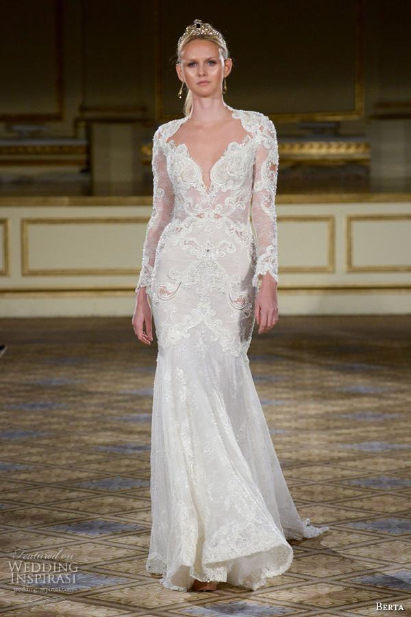 berta fall 2016 bridal gowns mermaid wedding dress queen anne neckline long lace sleeves