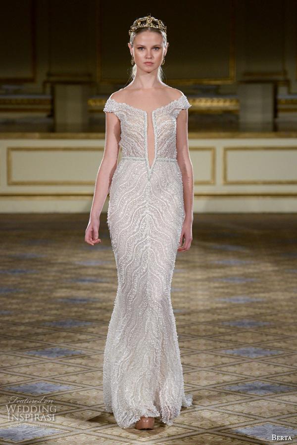 berta fall 2016 bridal gowns off the shoulder sheath wedding dress deep slited neckline