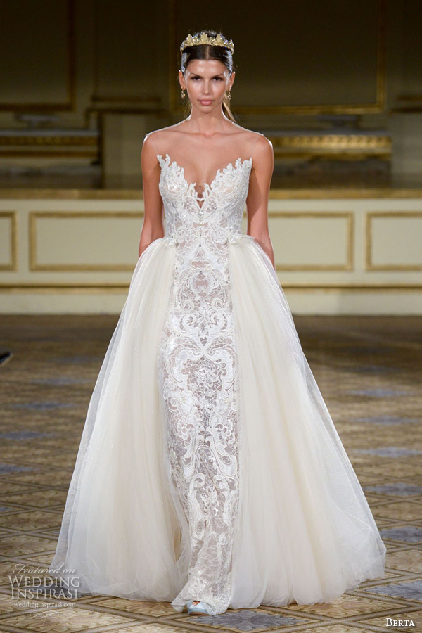 berta fall 2016 bridal gowns sexy strapless sheath wedding dress v neckline attached tulle overskirt