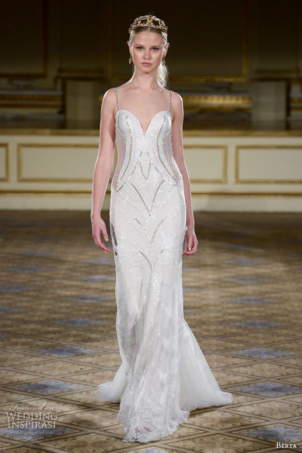 berta fall 2016 bridal gowns sheath wedding dress spagetti strap beaded embellishment