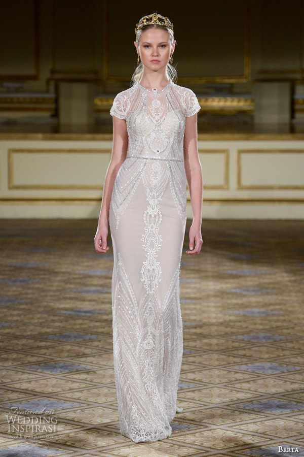berta fall 2016 bridal gowns short sleeves sheath wedding dress glitter beaded embellishment