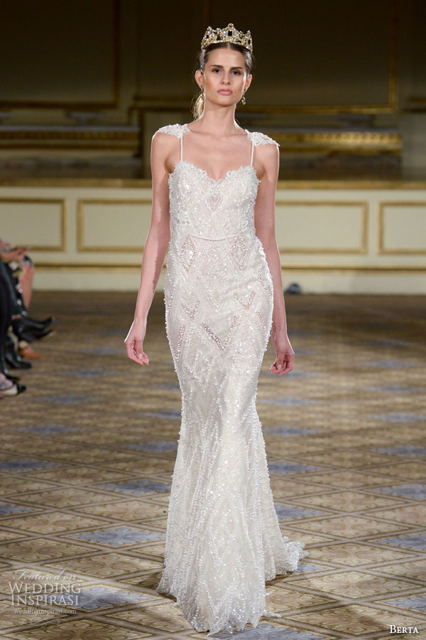 berta fall 2016 bridal gowns spagetti strap sweetheart neckline giltter embellishment sheath wedding dress