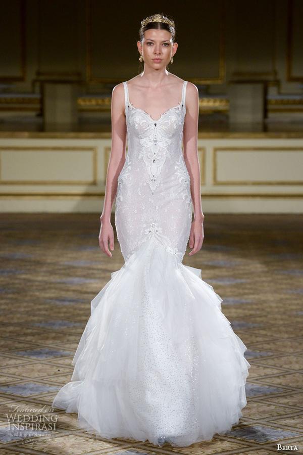 berta fall 2016 bridal gowns spagetti strap v neckline mermaid wedding dress