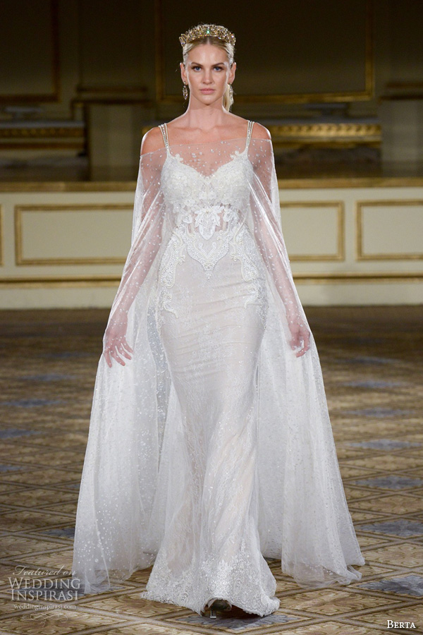 berta fall 2016 bridal gowns sweetheart neckline with strap sheath wedding dress illusion off shoulder cape
