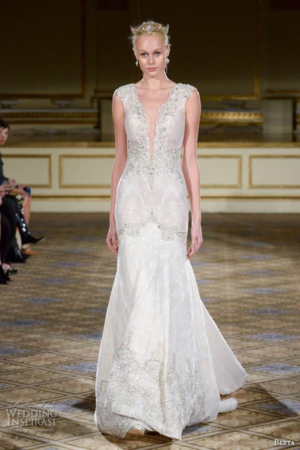 berta fall 2016 bridal gowns v neck deep plunging neckline embellshed trim mermaid wedding dress