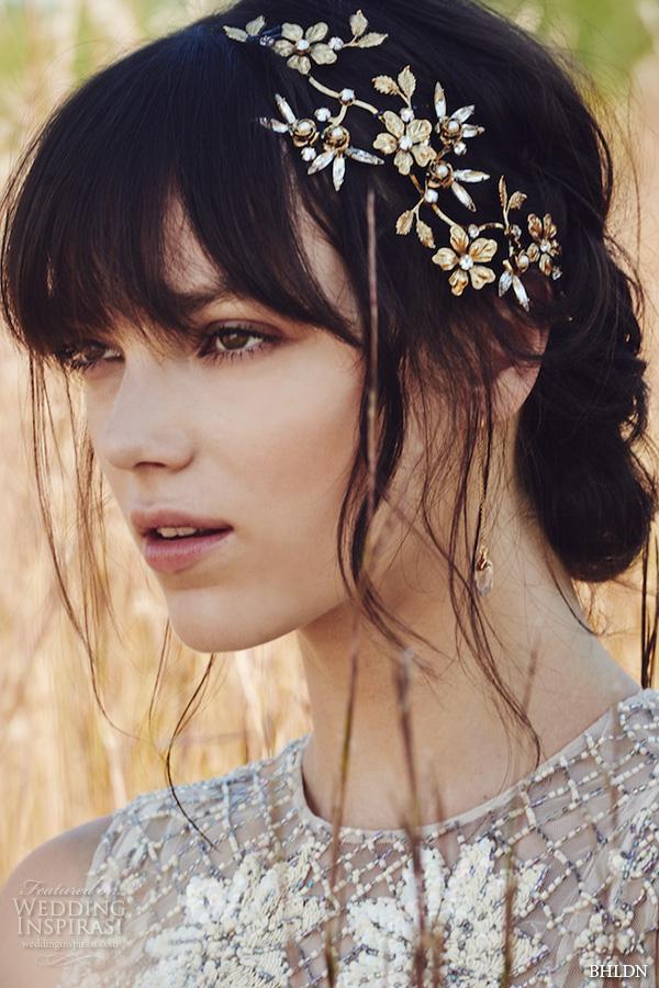 bhldn fall 2016 bridal dresses beautiful floral gold head pieces hair band wedding accessories