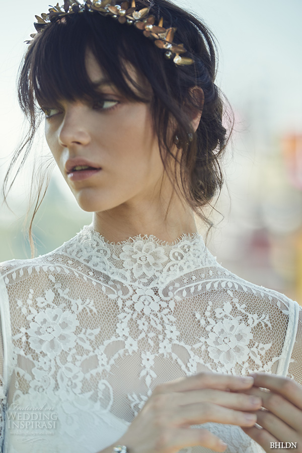 bhldn fall 2016 bridal dresses beautiful high neck lace short sleeves wedding dress with head pieces style bridgette