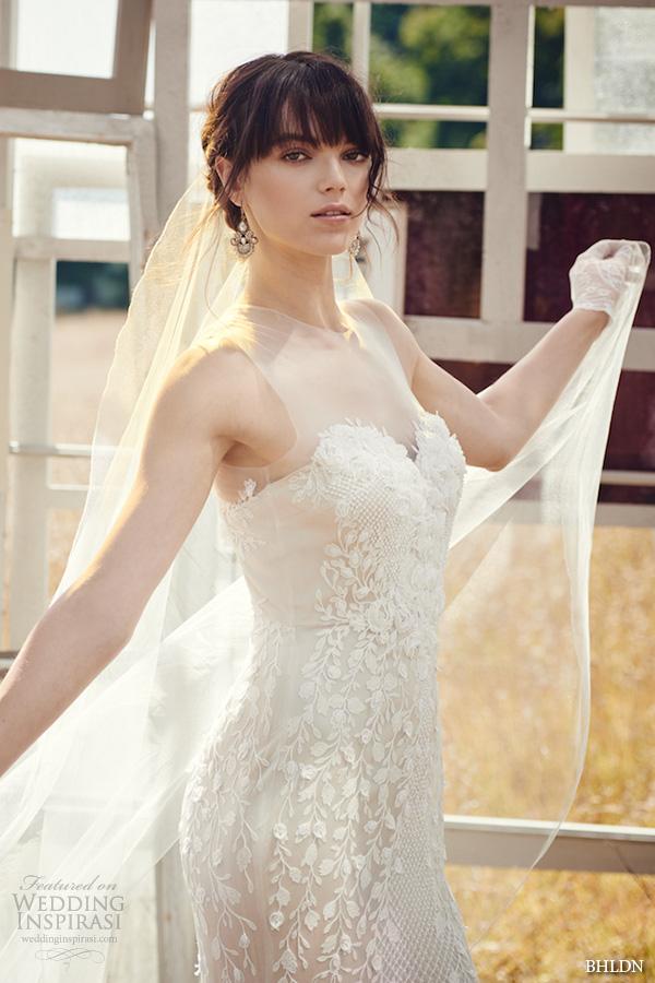 bhldn fall 2016 bridal dresses beautiful sheath wedding dress illusion jewel neckline sweetheart neckline floral embroidery style ashton closeup