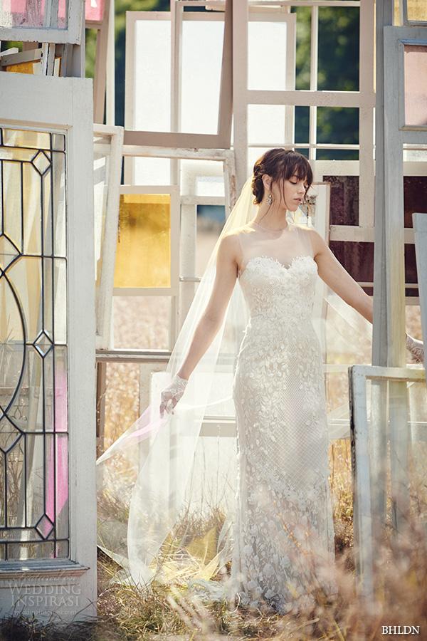 bhldn fall 2016 bridal dresses beautiful sheath wedding dress illusion jewel neckline sweetheart neckline floral embroidery style ashton