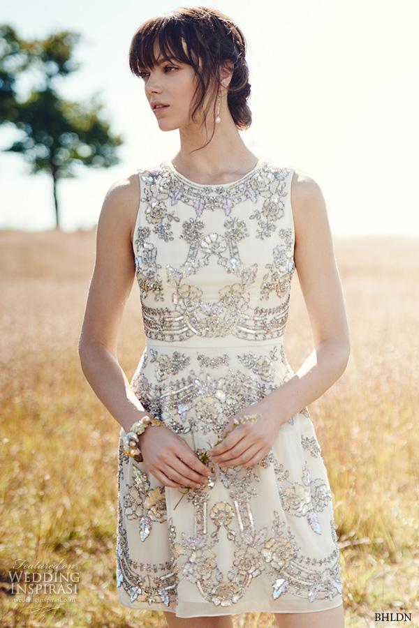 bhldn fall 2016 bridal dresses beautiful short wedding dress jewel neckline skirt siliver embroidery style austin
