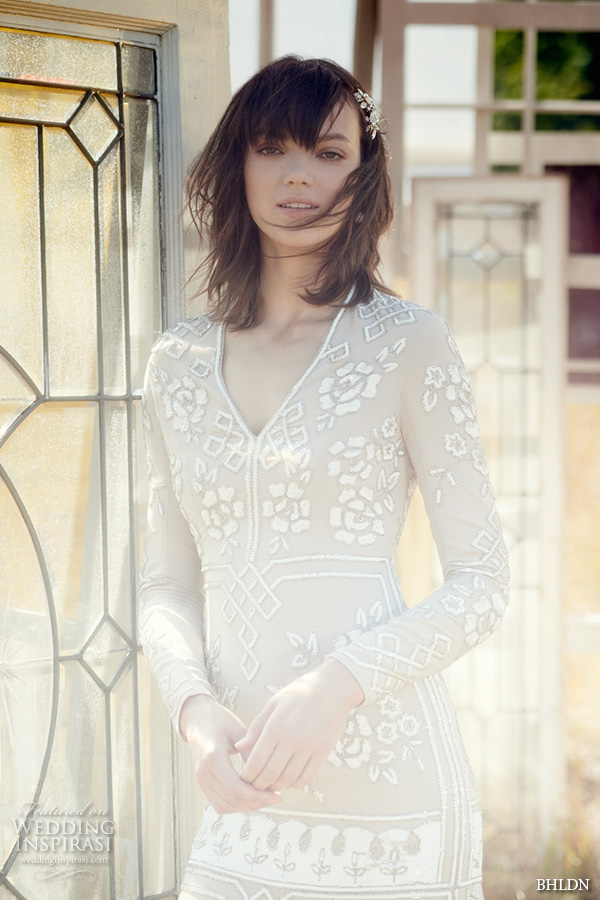 bhldn fall 2016 bridal dresses gorgeous long sleeves v neckline nude color sheath wedding dress floral embroidery close up