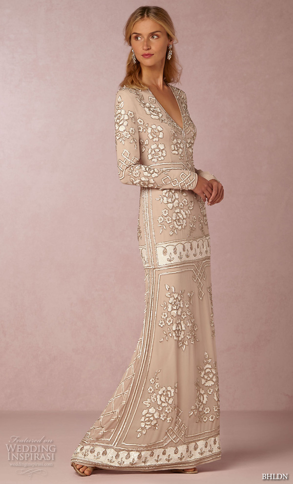 bhldn fall 2016 bridal dresses gorgeous long sleeves v neckline nude color sheath wedding dress floral embroidery style lake gown