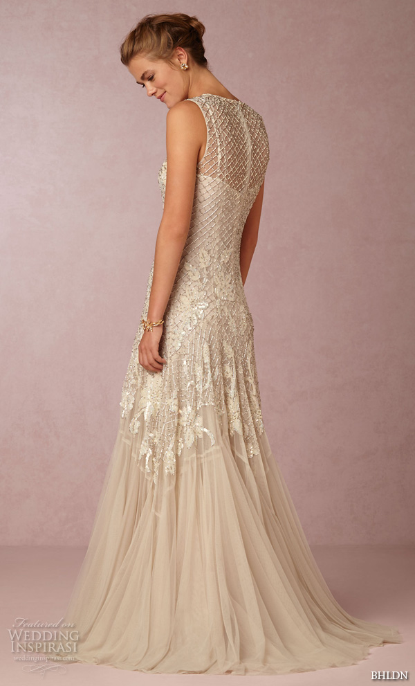 bhldn fall 2016 bridal dresses gorgeous slim fit a  line wedding dress sleeveless jewel neckline floral lace embroidery style wesley back view