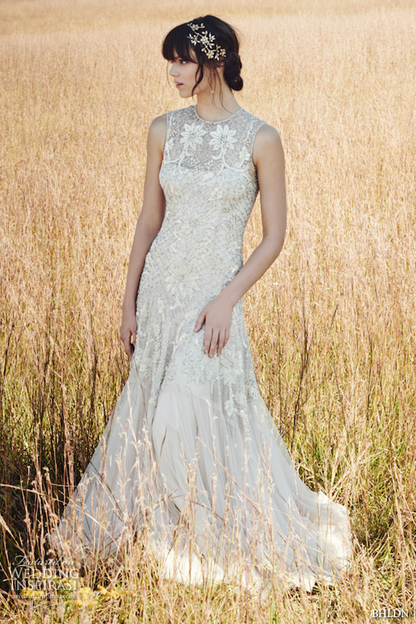 bhldn fall 2016 bridal dresses gorgeous slim fit a  line wedding dress sleeveless jewel neckline floral lace embroidery style wesley