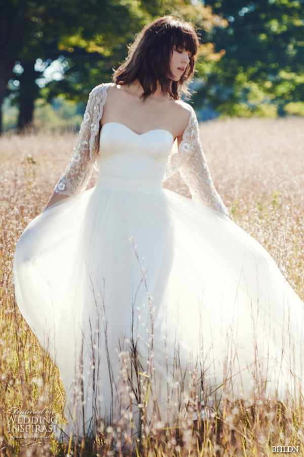 bhldn fall 2016 bridal dresses pretty strapless flowy sheath wedding dress with lace floral applique bolero jacket full view