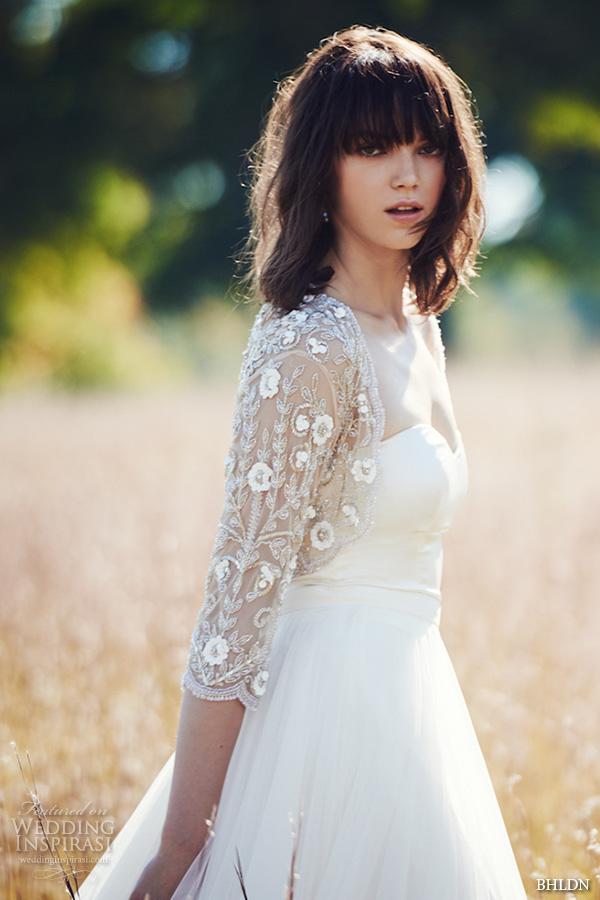 bhldn fall 2016 bridal dresses pretty strapless flowy sheath wedding dress with lace floral applique bolero jacket