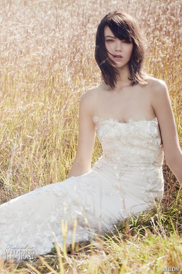 bhldn fall 2016 bridal dresses pretty strapless sheath wedding dress floral applique throughout style mirella