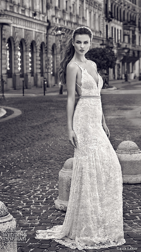 galia lahav gala fall 2016 bridal gowns beautiful sexy sheath wedding dress spagetti strap deep v neckline lace embroidery throughout style 604