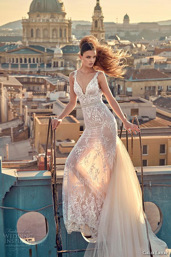 galia lahav gala fall 2016 bridal gowns beautiful sheath wedding dress lace embroidery strap and bodice with belt chapel train at back style 608