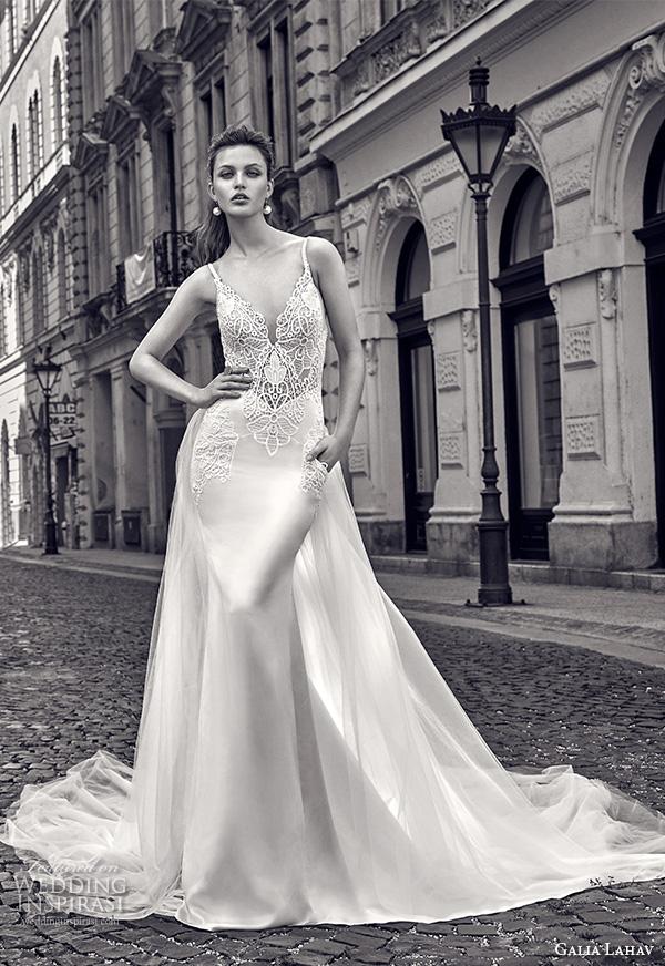 galia lahav gala fall 2016 bridal gowns beautiful sheath wedding dress pockets sleeveless v neckline lace embroidery satin chapel train style 610