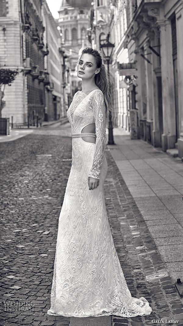 galia lahav gala fall 2016 bridal gowns elegant lace long sleeves sheath wedding dress boat neckline art deco embellishment style 612 side