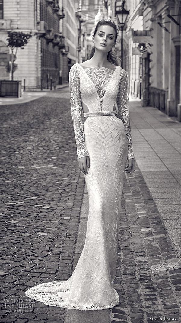 galia lahav gala fall 2016 bridal gowns elegant lace long sleeves sheath wedding dress boat neckline art deco embellishment style 612