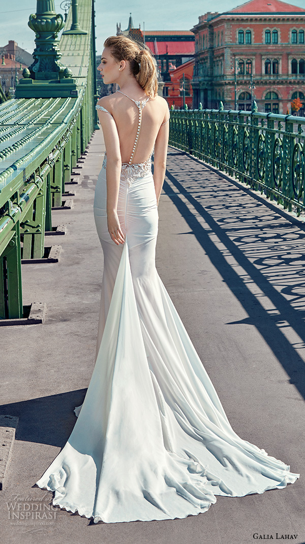 galia lahav gala fall 2016 bridal gowns elegant sheath wedding dress sheer jewel neckline cap sleeves filigree embellishment satin skirt style 609