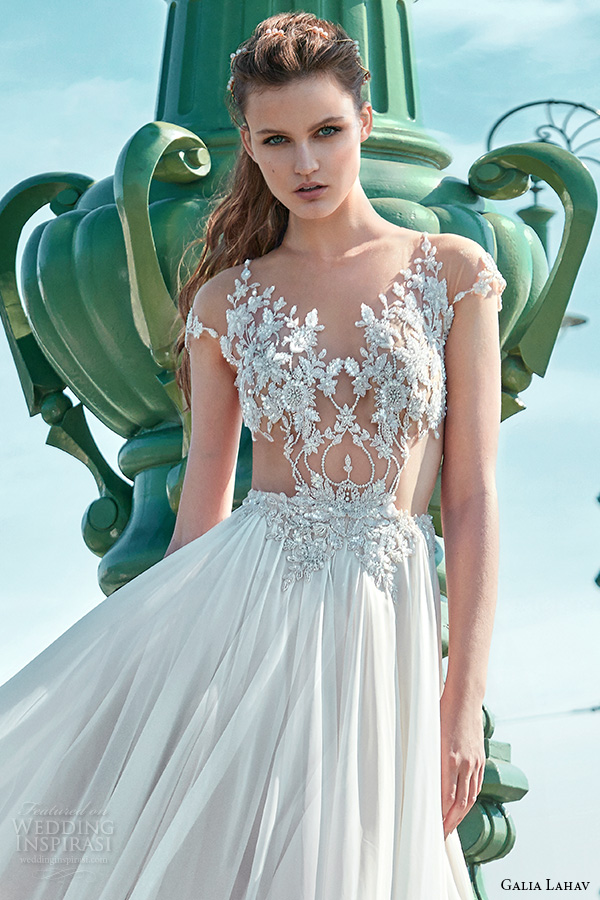 galia lahav gala fall 2016 bridal gowns gorgeous a  line wedding dress sheer bodice with floral applique cap sleeves flowy tulle skirt style 602
