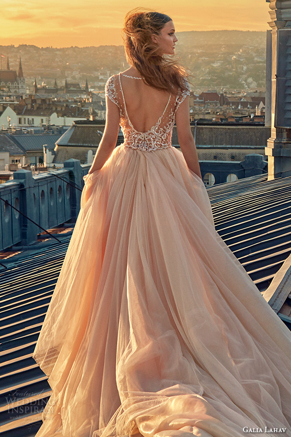 galia lahav gala fall 2016 bridal gowns gorgeous cap sleeves blush color ball gown wedding dress open low cut back long chapel train tulle skirt style 607