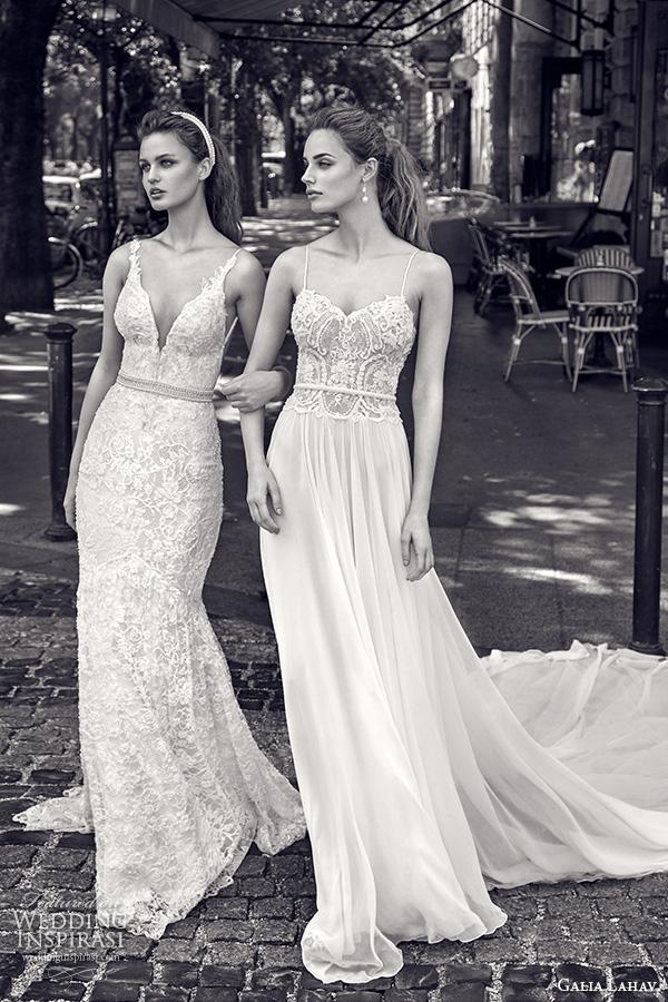 galia lahav gala fall 2016 bridal gowns gorgeous sleeveless lace sheath wedding dress and romantic flow spagetti strap gown style 601 n 604