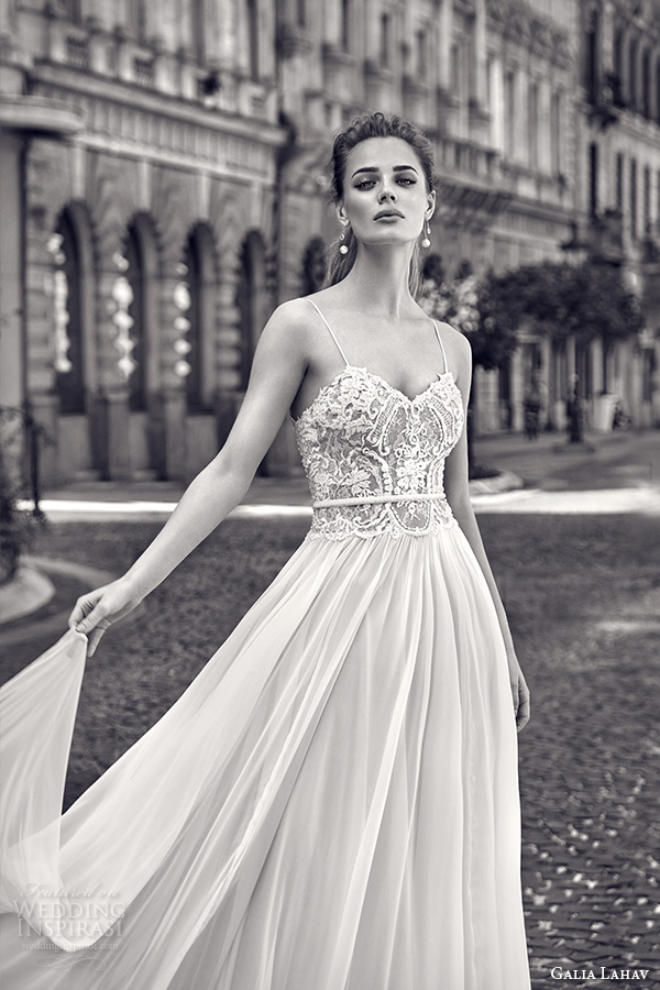 galia lahav gala fall 2016 bridal gowns pretty romantic a  line sheath wedding dress flowy tulle skirt lace embroidered bodice sleeveless spagetti strap style 601