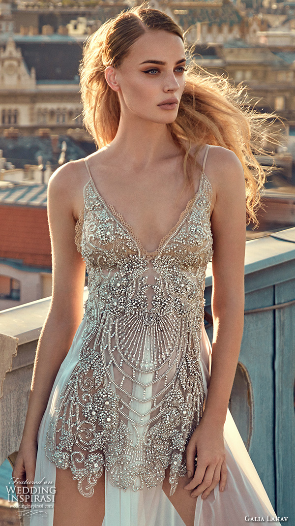 galia lahav gala fall 2016 bridal gowns sexy sleeveless spagetti strap wedding dress embellished slip mini dress with full length sheer underskirt style 605